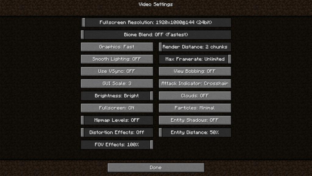 Optimized Minecraft Settings